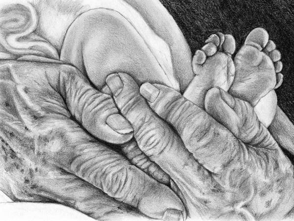 Poster featuring the drawing Grandmother's Hands by Penny Collins