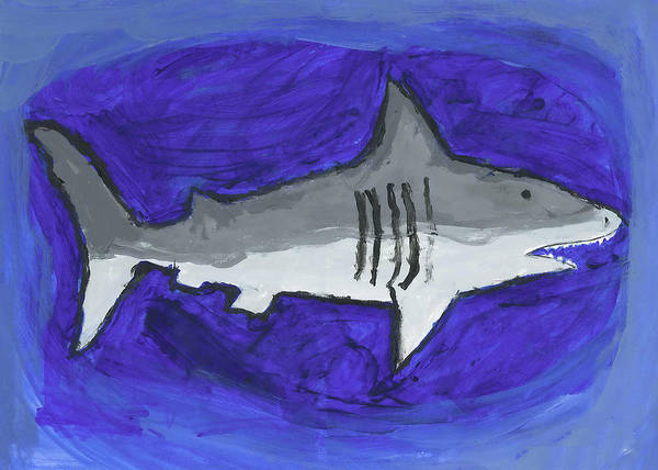 Poster featuring the painting Great White In The Deep Blue Sea by Fred Hanna
