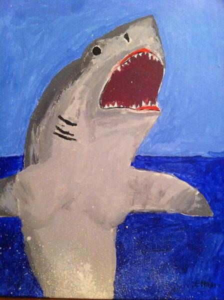 Poster featuring the painting Great White Shark Breaching by Fred Hanna