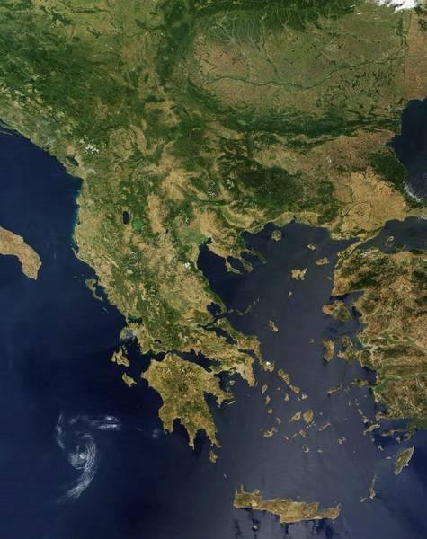 Greece, Satellite Image Poster
