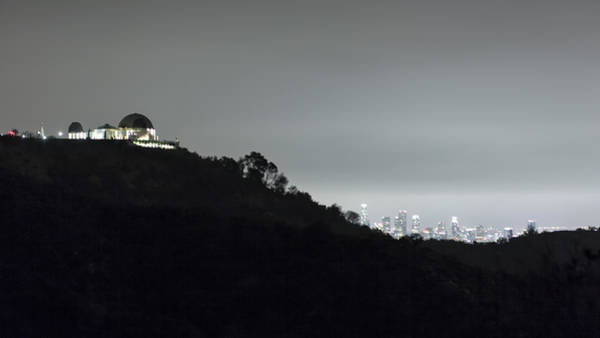 Griffith Park Observatory And Los Angeles Skyline At Night Poster