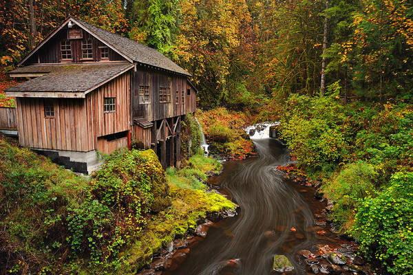 Grist Mill In Autumn Poster