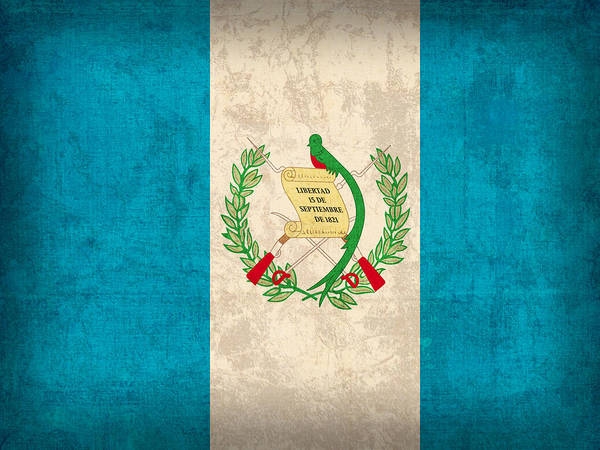 Guatemala Flag Vintage Distressed Finish Poster