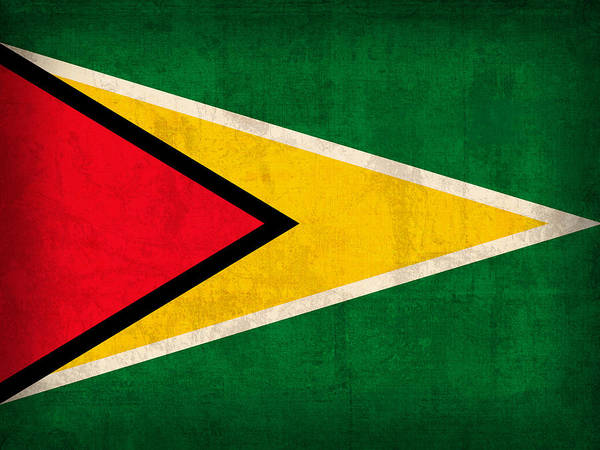 Guyana Flag Vintage Distressed Finish Poster