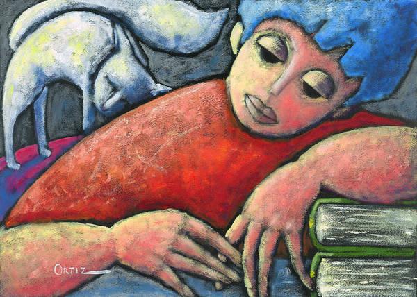 Poster featuring the painting Haciendo Tareas En Mi Cuarto by Oscar Ortiz