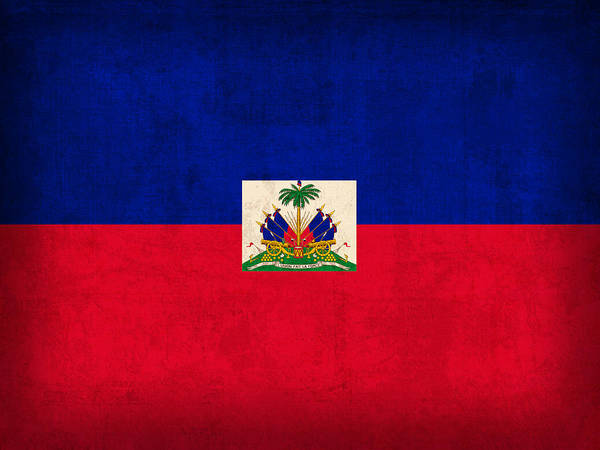 Haiti Flag Vintage Distressed Finish Poster
