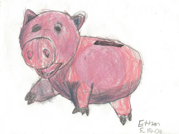 Poster featuring the drawing Ham From Toy Story by Fred Hanna