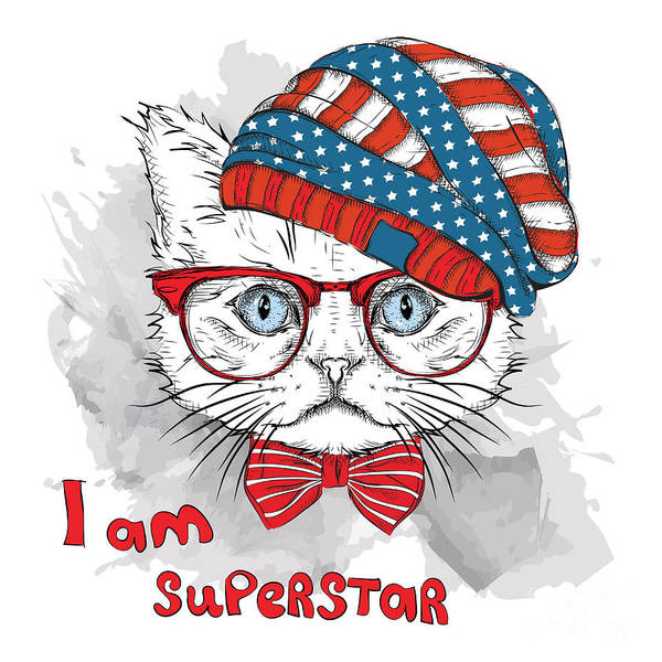 Hand Draw Cat In A Usa Hat. Vector Poster