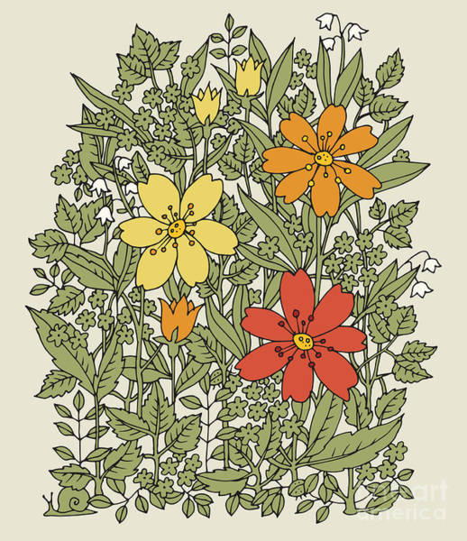 Hand Drawn Flowers On White Background Poster