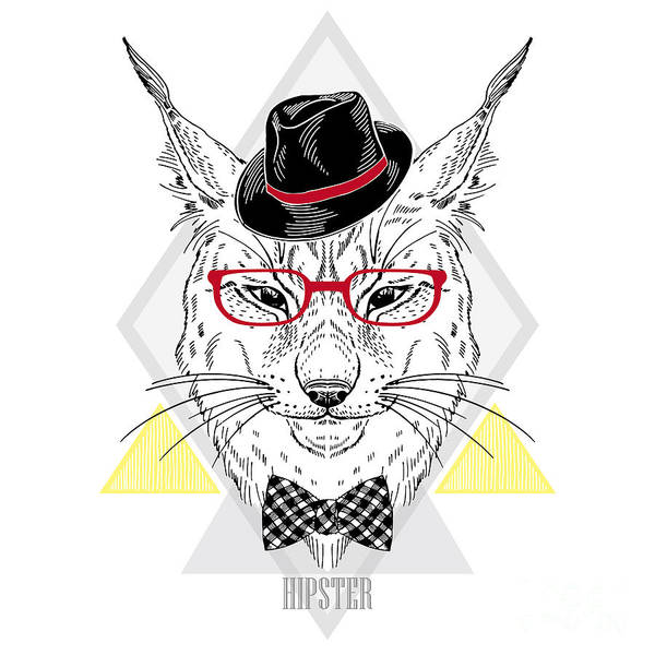 Hand Drawn Portrait Of Hipster Lynx In Poster
