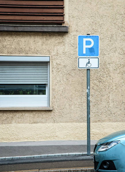 Handicapped Parking Sign And Car Poster