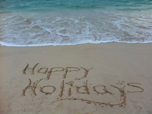 Happy Holidays Beach Messages Poster