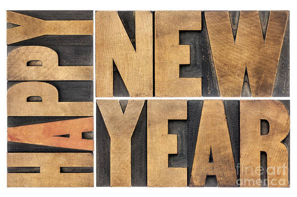 Happy New Year In Wood Type Poster