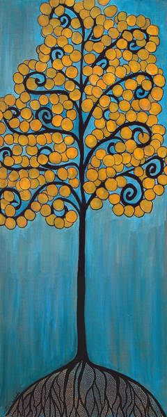 Happy Tree In Blue And Gold Poster