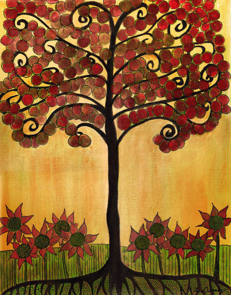 Happy Tree In Red Poster