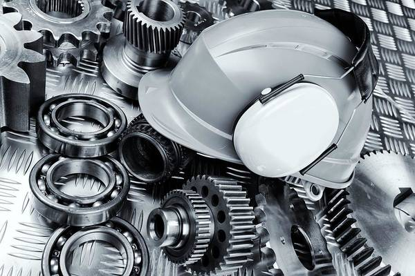 Hardhat With Industrial Gear Parts Poster