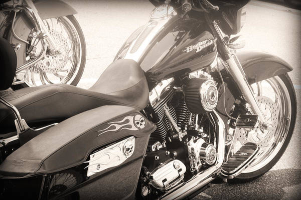Harley Davidson With Flaming Skulls Poster