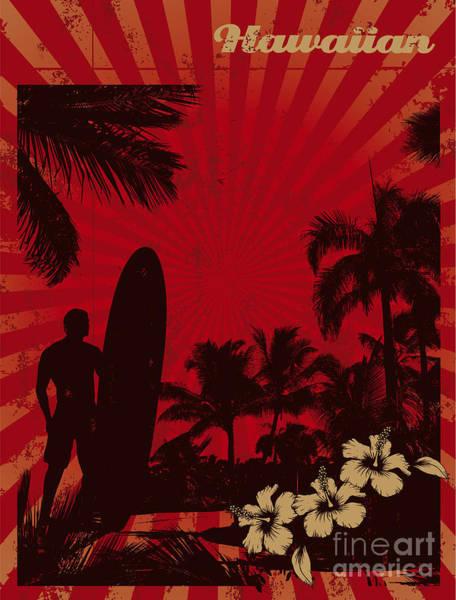 Hawaiian Vintage Surf Poster Poster