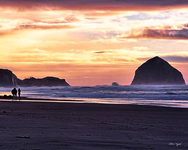 Haystack Rock Beach Walk Sunset Poster