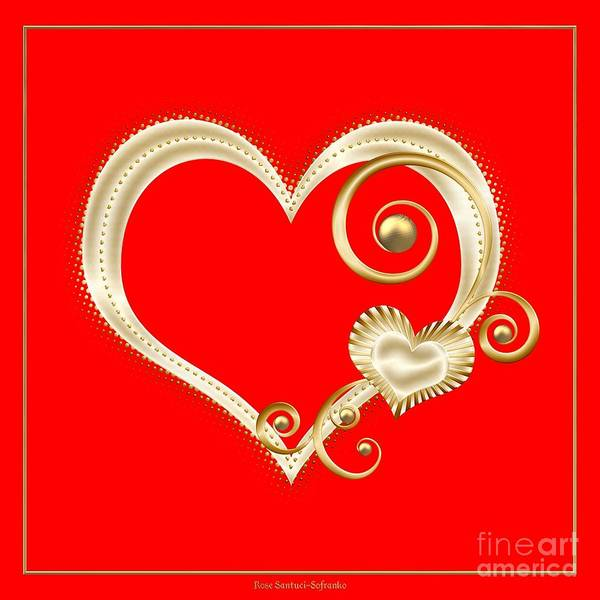 Hearts In Gold And Ivory On Red Poster