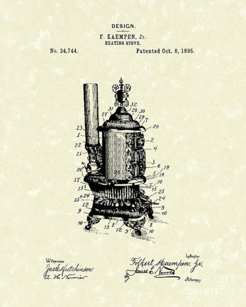 Heating Stove 1895 Patent Art Poster
