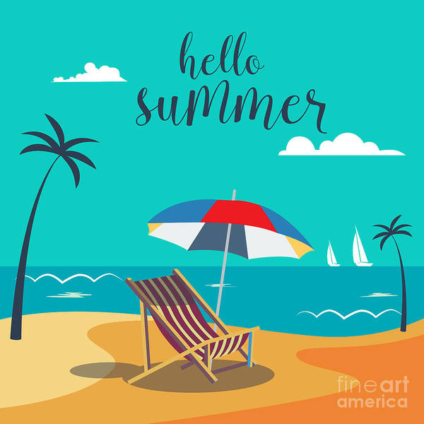 Hello Summer Poster. Tropical Beach Poster