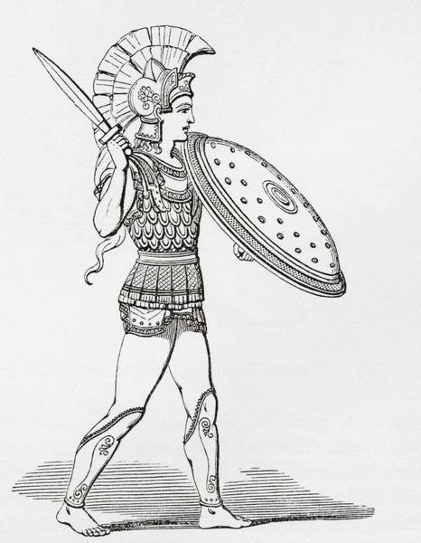Helmeted Greek Warrior Wearing Greaves And Armour Holding A Clipeus Shield And Sword. From The Poster