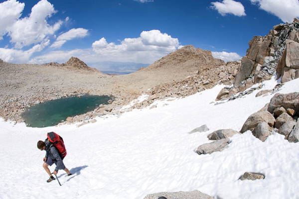 Hiker Traversing On Snow In California Poster