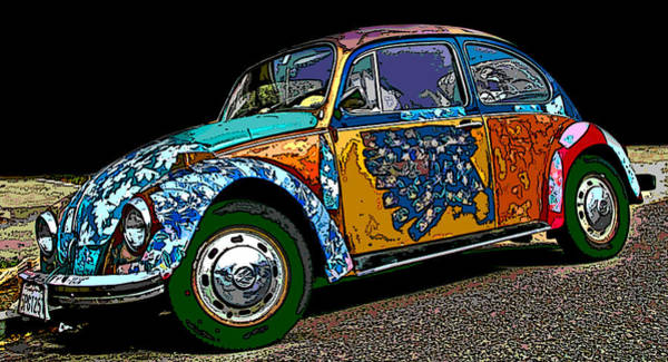 Hippie Vw Bug Poster