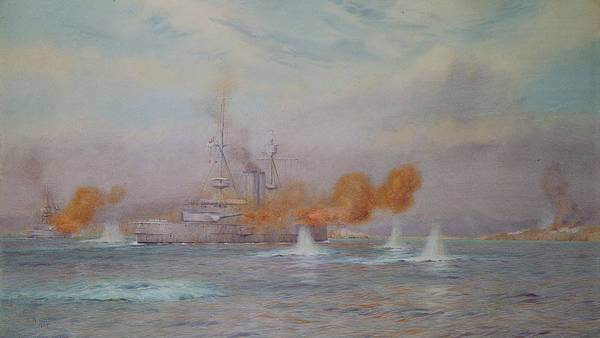 H.m.s. Albion Commanded By Capt. A. Walker-heneage Completing The Destruction Of The Outer Forts Poster