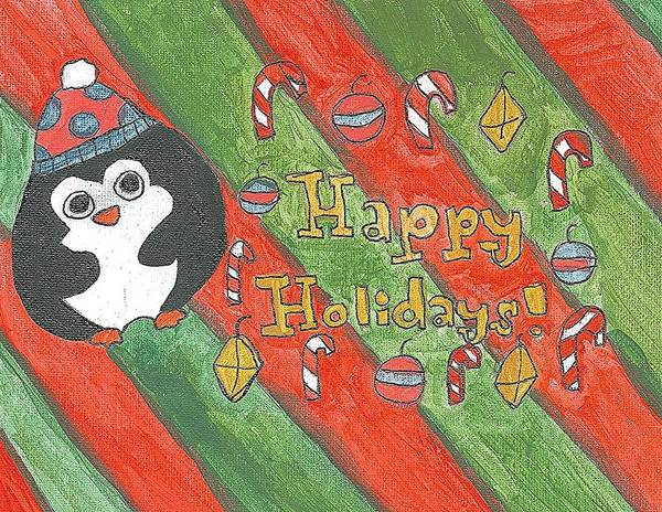 Poster featuring the painting Holiday Penguin by Fred Hanna