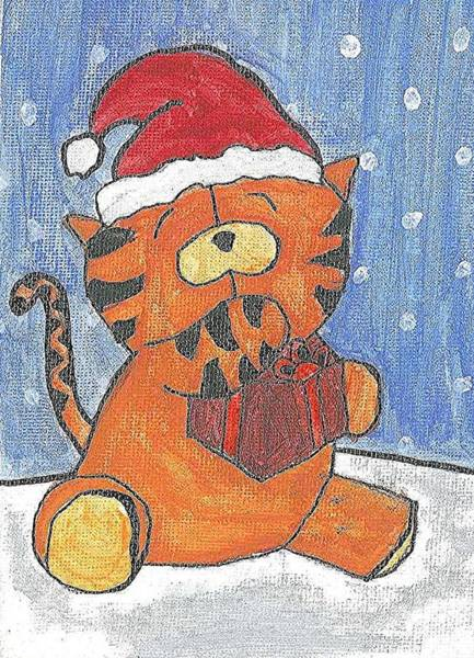 Poster featuring the painting Holiday Tiger by Fred Hanna