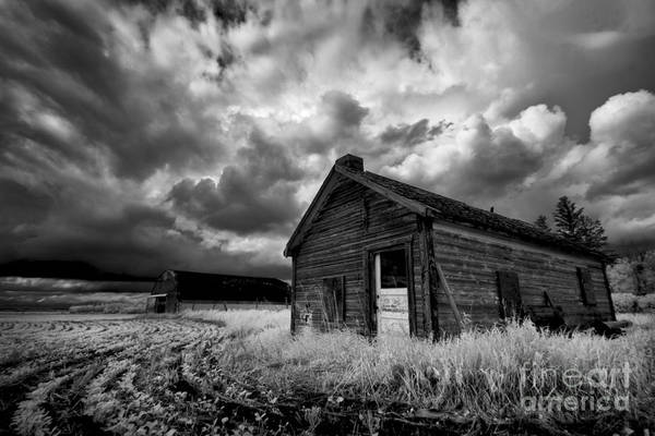 Homestead Under Stormy Sky Poster