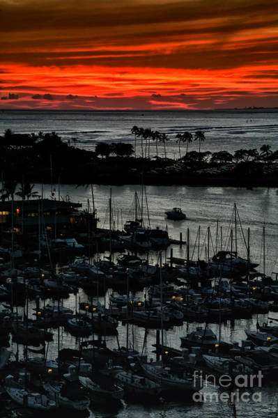 Poster featuring the photograph Honolulu Marina Sunset by Kate McKenna