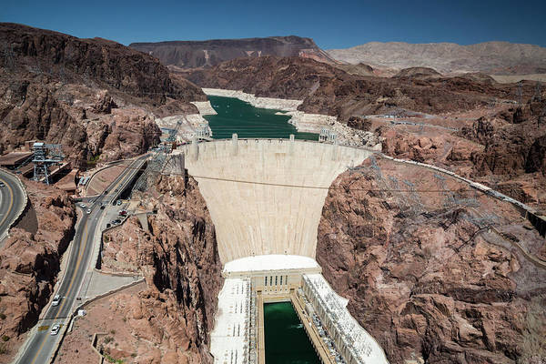 Hoover Dam And Lake Mead During Drought Poster
