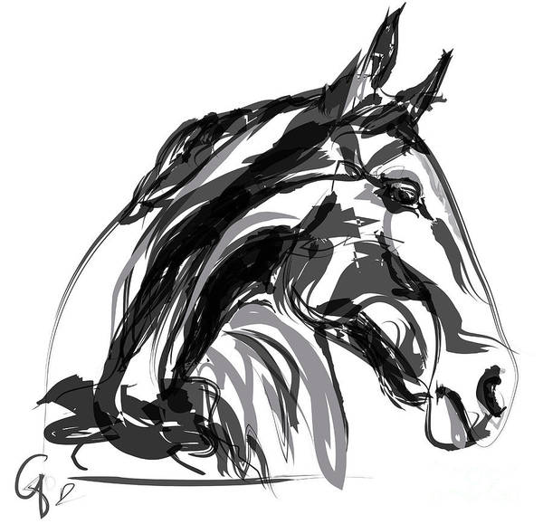 Horse- Apple -digi - Black And White Poster
