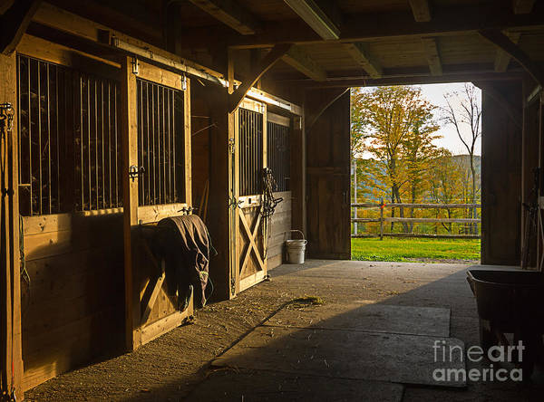 Horse Barn Sunset Poster