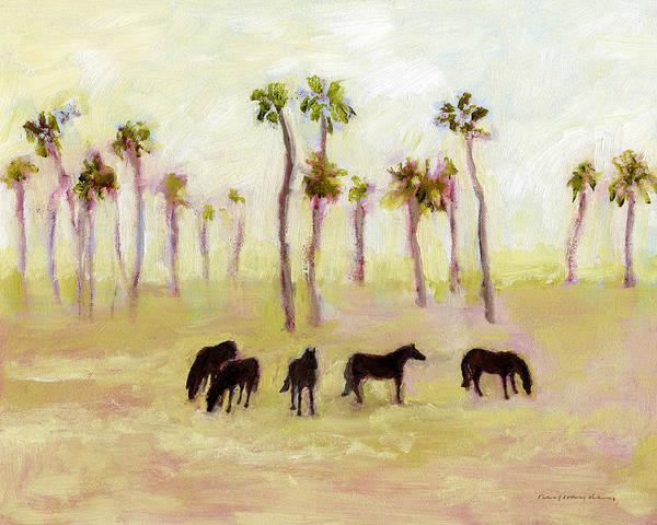 Horses And Palm Trees Poster