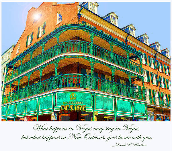 Hotel On Bourbon Street New Orleans Louisiana Poster