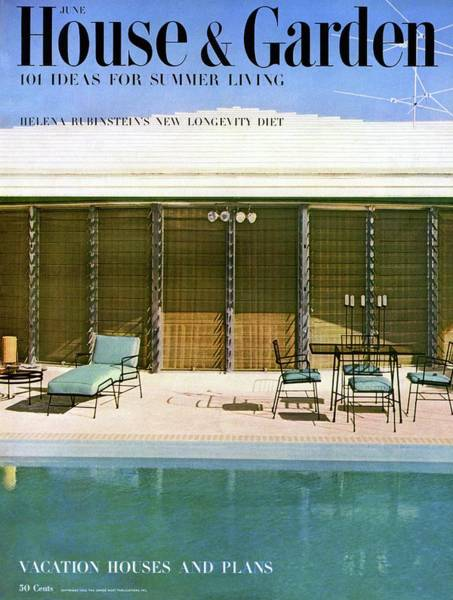 House & Garden Cover Of A Swimming Pool At Miami Poster