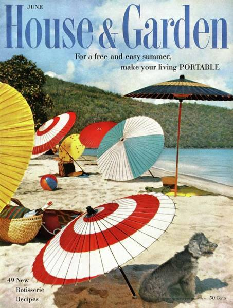 House And Garden Featuring Umbrellas On A Beach Poster