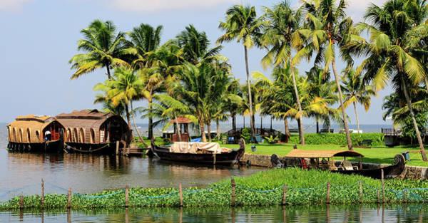 Houseboats Docked Along Shore Poster