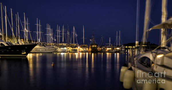 Hvar Harbor At Night Poster