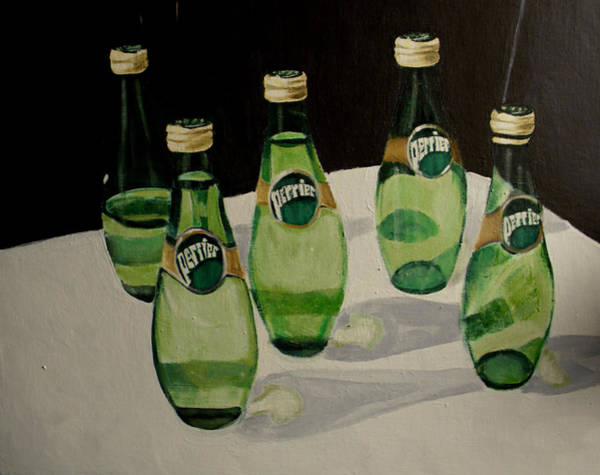Perrier Bottled Water, Green Bottles, Conceptual Still Life Art Painting Print By Ai P. Nilson Poster