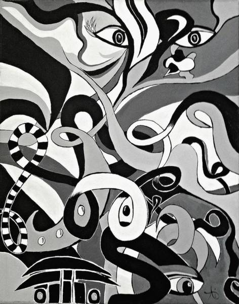 Black And White Acrylic Painting Original Abstract Artwork Eye Art  Poster