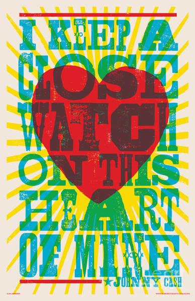I Walk The Line - Johnny Cash Lyric Poster Poster