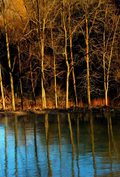 Ice Lake Reflection - Digital Art Poster