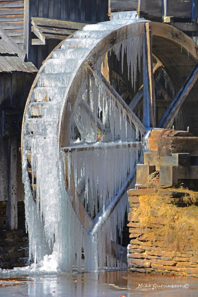 Ice On The Water Wheel Poster
