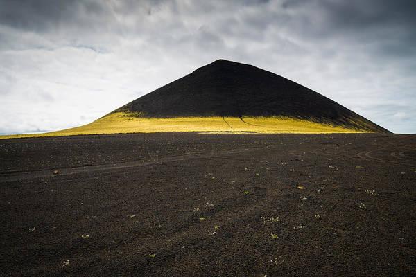 Iceland Minimalist Landscape Brown Black Yellow Poster