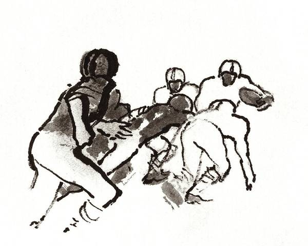 Illustration Of A Group Of Football Players Poster